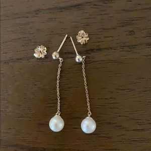 Tiffany sterling and pearl drop earrings